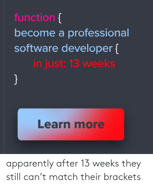 function: function {  become a professional  software developer {  in just: 13 weeks  }  Learn more apparently after 13 weeks they still can't match their brackets
