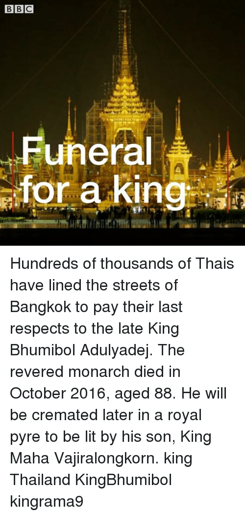Lit, Memes, and Streets: Funeral  for a king Hundreds of thousands of Thais have lined the streets of Bangkok to pay their last respects to the late King Bhumibol Adulyadej. The revered monarch died in October 2016, aged 88. He will be cremated later in a royal pyre to be lit by his son, King Maha Vajiralongkorn. king Thailand KingBhumibol kingrama9