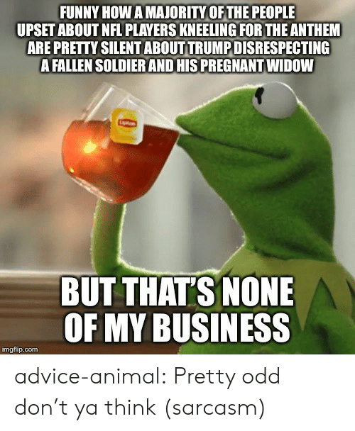 Ya Think: FUNNY HOW A MAJORITY OF THE PEOPLE  UPSET ABOUT NFL PLAYERS KNEELING FOR THE ANTHEM  ARE PRETTY SILENT ABOUT TRUMP DISRESPECTING  A FALLEN SOLDIER AND HIS PREGNANT WIDOW  BUT THAT'S NONE  OF MY BUSINESS  imgflip.com advice-animal:  Pretty odd don't ya think (sarcasm)