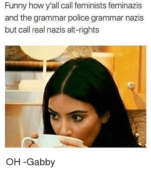 Funny, Memes, and Police: Funny how y'all call feminists feminazis  and the grammar police grammar nazis  but call real nazis alt-rights OH -Gabby
