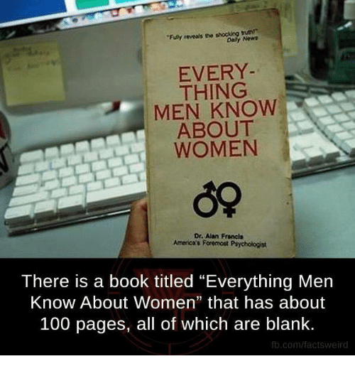 """funy: """"Funy reveals the  EVERY  THING  MEN KNOW  ABOUT  WOMEN  Dr. Aan Francis  Americas For omost Psychologist  There is a book titled """"Everything Men  Know About Women"""" that has about  100 pages, all of which are blank.  fb.com/factsweird"""