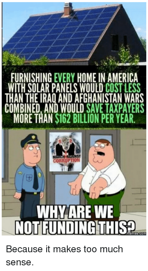 furnishing every home in america with solar panels would cost less than the iraq and afghanistan. Black Bedroom Furniture Sets. Home Design Ideas
