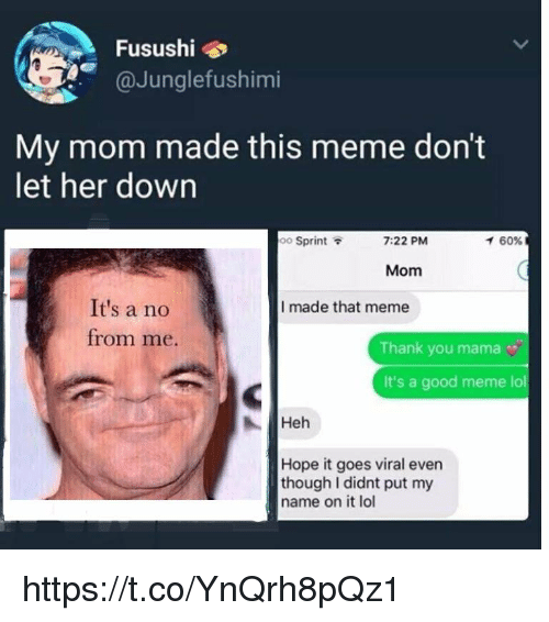 Meme Lol: Fusushi  @Junglefushimi  My mom made this meme don't  let her down  oo Sprint  7:22 PM  イ60%  Mom  It's a no  I made that meme  from me.  Thank you mama  It's a good meme lol  Heh  Hope it goes viral even  though I didnt put my  name on it lol https://t.co/YnQrh8pQz1