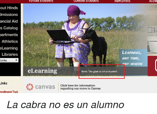 Cabra: FUTURE  STUDENTS  CURRENT STUDENTS  EMPLOYEES  ALUM  out Hinds  missions  ancial  Aicd  s Catalog  artments  Athletics  eLearning  Libraries  Links  LEARNING,  ANY TIME,  ANY WHERE  eLearning  Note: The goat is not a student.  inks  canvas  regarding our information  Click here for  regarding our move to Canvas  nrollment Tool <p><i>La cabra no es un alumno</i><br/></p>