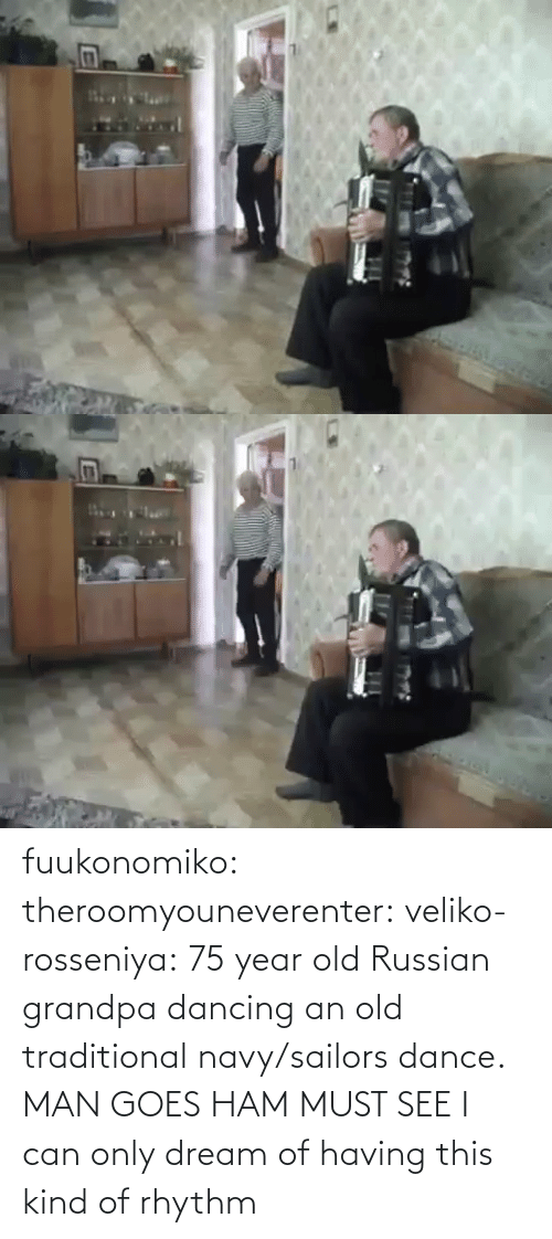 Goes: fuukonomiko:  theroomyouneverenter:  veliko-rosseniya: 75 year old Russian grandpa dancing an old traditional navy/sailors dance. MAN GOES HAM MUST SEE  I can only dream of having this kind of rhythm