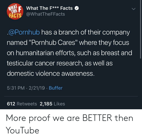 "Domestic Violence Awareness: FWhat The F*Facts  FACTS @WhatTheFFacts  .@Pornhub has a branch of their company  named ""Pornhub Cares"" where they focus  on humanitarian efforts, such as breast and  testicular cancer research, as well as  domestic violence awareness.  5:31 PM . 2/21/19 Buffer  612 Retweets 2,185 Likes More proof we are BETTER then YouTube"