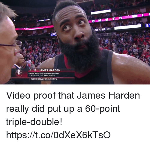 James Harden, Memes, and Record: G 13 JAMES HARDEN  FRANCHISE-RECORD 60 POINTS  11 ASSISTS/10 REBOUNDS  RESPONSIBLE FOR 86 POINTS Video proof that James Harden really did put up a 60-point triple-double!  https://t.co/0dXeX6kTsO