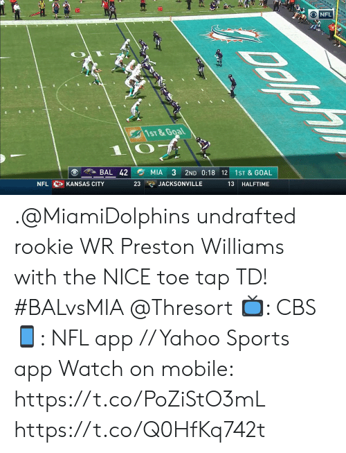 Memes, Nfl, and Sports: G  70  NFL  1ST&Goal  BAL 42  MIA  3  2ND 0:18 12  1ST & GOAL  JACKSONVILLE  13  NFL  KANSAS CITY  23  HALFTIME .@MiamiDolphins undrafted rookie WR Preston Williams with the NICE toe tap TD! #BALvsMIA @Thresort  📺: CBS 📱: NFL app // Yahoo Sports app  Watch on mobile: https://t.co/PoZiStO3mL https://t.co/Q0HfKq742t