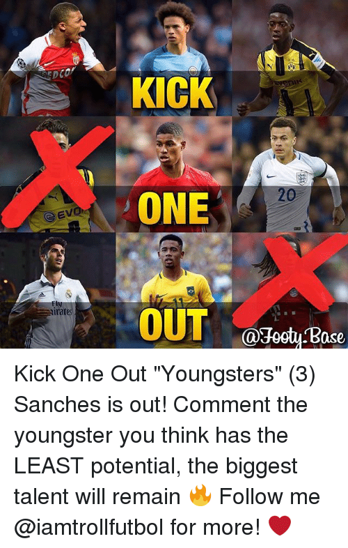 "jeet: G Evi  imates  KICK  ONE  OUT  @Jeet Base Kick One Out ""Youngsters"" (3) Sanches is out! Comment the youngster you think has the LEAST potential, the biggest talent will remain 🔥 Follow me @iamtrollfutbol for more! ❤️"