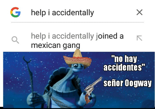 "Mexican: G help i accidentally  help i accidentally joined a  mexican gang  ""no hay.  accidentes""  señor Oogway"
