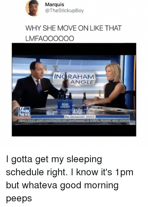 Memes, Good Morning, and Good: (g  Marquis  @TheStickupBoy  WHY SHE MOVE ON LIKE THAT  LMFAOOOOOO  NG RAHAM  ANGLE  ox  The INGRAHAM ANGLE I gotta get my sleeping schedule right. I know it's 1pm but whateva good morning peeps