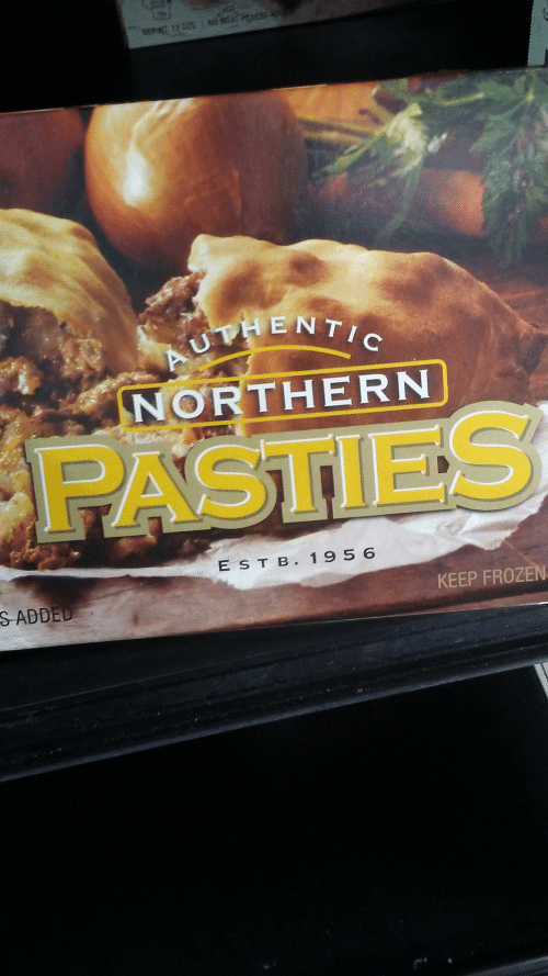 pasties: G MEAT PERS AD  NEMT 12 025  AUTHENTIC  NORTHERN  PASTIES  E STB. 1956  S ADDED  KEEP FROZEN