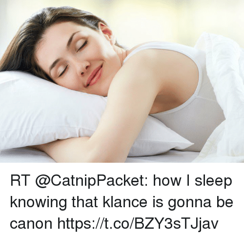 Klance: (g RT @CatnipPacket: how I sleep knowing that klance is gonna be canon https://t.co/BZY3sTJjav