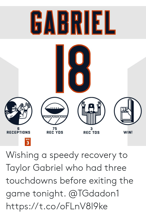 speedy: GABRIEL  18  75  REC YDS  WIN!  RECEPTIONS  REC TDS  WK  33 Wishing a speedy recovery to Taylor Gabriel who had three touchdowns before exiting the game tonight. @TGdadon1 https://t.co/oFLnV8l9ke
