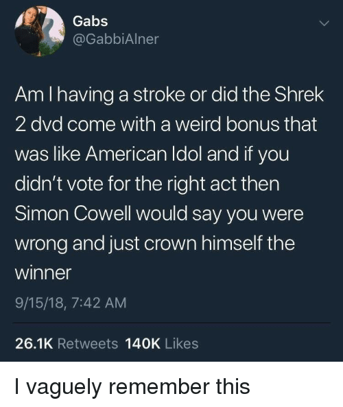 Simon Cowell: Gabs  @GabbiAlner  Am I having a stroke or did the Shrek  2 dvd come with a weird bonus that  was like American Idol and if you  didn't vote for the right act thern  Simon Cowell would say you were  wrong and just crown himself the  winner  9/15/18, 7:42 AM  26.1K Retweets 140K Likes I vaguely remember this