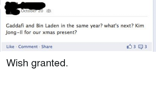 Presentient: Gaddafi and Bin Laden in the same year? what's next? Kim  Jong-Il for our xmas presenti?  Like Comment Share <p>Wish granted.</p>