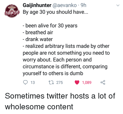 chu: Gaijinhunter @aevanko 9h  NE By age 30 you should have  CHU  been alive for 30 vears  - breathed air  - drank water  - realized arbitrary lists made by other  people are not something you need to  worry about. Each person and  circumstance is different, comparing  yourself to others is dumb  13  275  1,089 Sometimes twitter hosts a lot of wholesome content