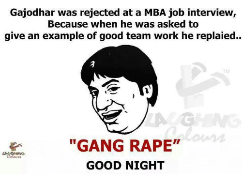 gajodhar was rejected at a mba job interview because when