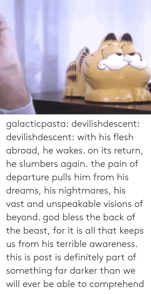 Flesh: galacticpasta:  devilishdescent:  devilishdescent:  with his flesh abroad, he wakes. on its return, he slumbers again.  the pain of departure pulls him from his dreams, his nightmares, his vast and unspeakable visions of beyond. god bless the back of the beast, for it is all that keeps us from his terrible awareness.  this is post is definitely part of something far darker than we will ever be able to comprehend
