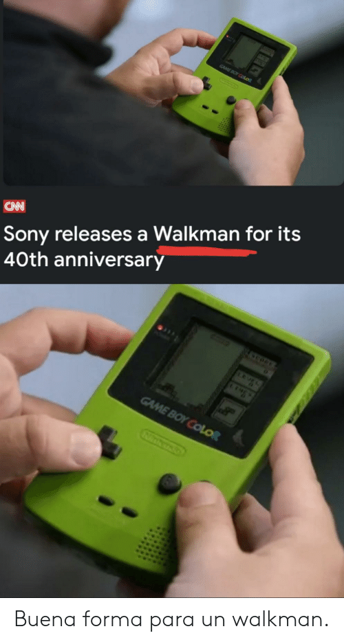Sony: GAME BOY COLOR  Sony releases a Walkman for its  40th anniversary  CAN  GAME BOY COLOR Buena forma para un walkman.