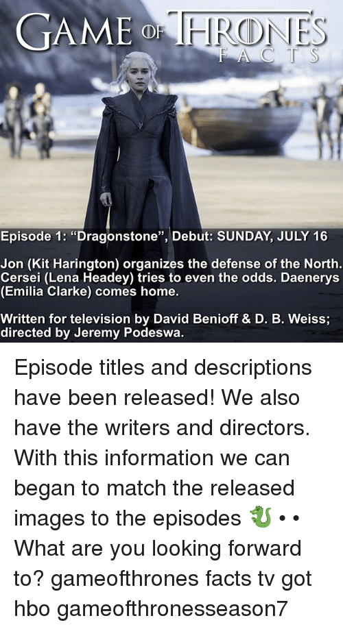 "Kit Harington: GAME  Episode 1: ""Dragonstone"", Debut: SUNDAY, JULY 16  Jon (Kit Harington) organizes the defense of the North  Cersei (Lena Headey) tries to even the odds. Daenerys  (Emilia Clarke) comes home.  Written for television by David Benioff & D. B. Weiss  directed by Jeremy Podeswa. Episode titles and descriptions have been released! We also have the writers and directors. With this information we can began to match the released images to the episodes 🐉 • • What are you looking forward to? gameofthrones facts tv got hbo gameofthronesseason7"