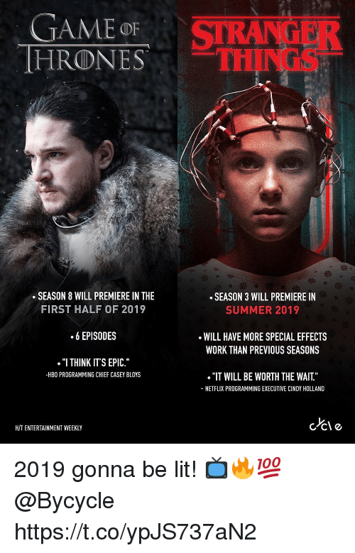 "Hbo, Lit, and Netflix: GAME oF  HRONESTH  STRANGER  THINGS  .SEASON 8 WILL PREMIERE IN THE  SEASON 3 WILL PREMIERE IN  SUMMER 2019  FIRST HALF OF 2019  .6 EPISODES  ""I THINK ITS EPIC.""  WILL HAVE MORE SPECIAL EFFECTS  WORK THAN PREVIOUS SEASONS  -HBO PROGRAMMING CHIEF CASEY BLOYS  ""IT WILL BE WORTH THE WAIT.""  NETFLIX PROGRAMMING EXECUTIVE CINDY HOLLAND  HIT ENTERTAINMENT WEEKLY 2019 gonna be lit! 📺🔥💯 @Bycycle https://t.co/ypJS737aN2"