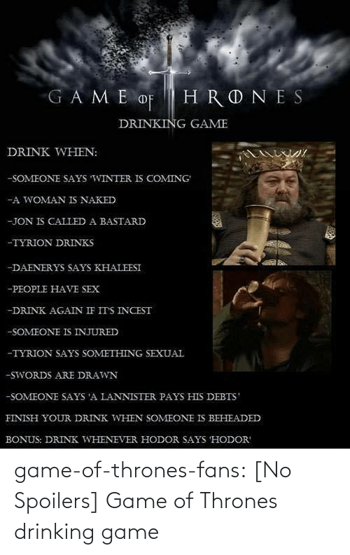 Game of Thrones: game-of-thrones-fans:  [No Spoilers] Game of Thrones drinking game