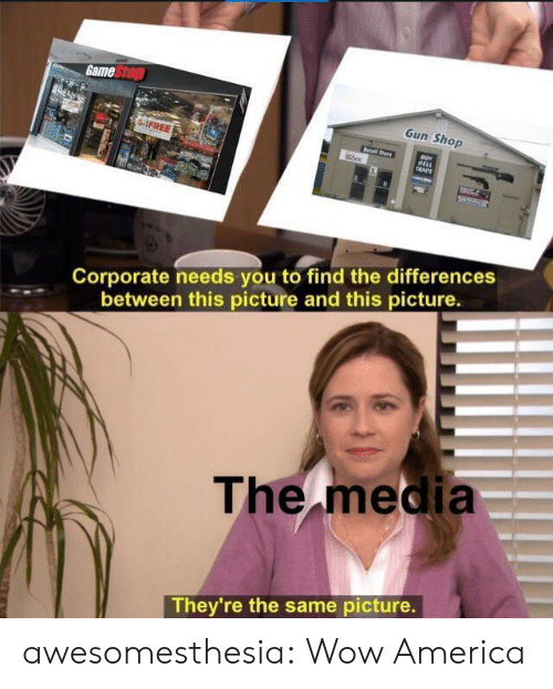 Retail: Game Stop  Gun Shop  FREE  Retail Stare  BELL  TRADE  Corporate needs you to find the differences  between this picture and this picture.  The media  They're the same picture. awesomesthesia:  Wow America