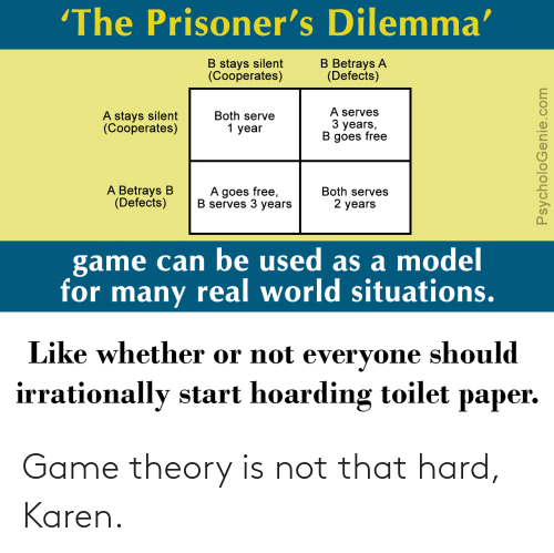 game theory: Game theory is not that hard, Karen.