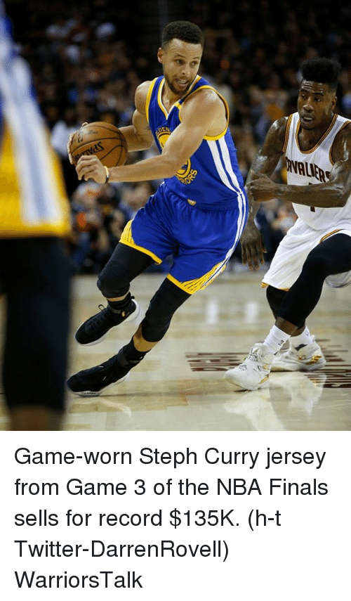 Basketball, Finals, and Golden State Warriors: Game-worn Steph Curry jersey from Game 3 of the NBA Finals sells for record $135K. (h-t Twitter-DarrenRovell) WarriorsTalk