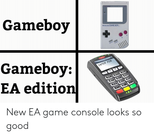 console: Gameboy  Nintendo GAME BOY  Gameboy:  EA edition  ELECT  START  ENTER PIN  3P  1or 2  4 5t B  7D 8 9  ..  F New EA game console looks so good