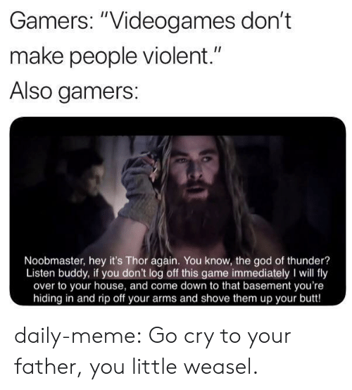 """videogames: Gamers: """"Videogames don't  II  make people violent.""""  Also gamers:  Noobmaster, hey it's Thor again. You know, the god of thunder?  Listen buddy, if you don't log off this game immediately I will fly  over to your house, and come down to that basement you're  hiding in and rip off your arms and shove them up your butt! daily-meme:  Go cry to your father, you little weasel."""