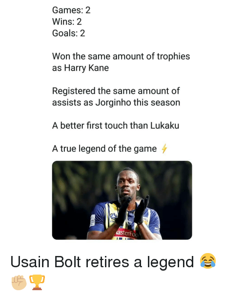 Lukaku: Games: 2  Wins: 2  Goals: 2  Won the same amount of trophies  as Harry Kane  Registered the same amount of  assists as Jorginho this season  A better first touch than Lukaku  A true legend of the game  asterFoo Usain Bolt retires a legend 😂✊🏼🏆