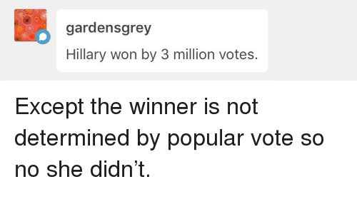 Popular Vote: gardensgrey  Hillary won by 3 million votes. <p>Except the winner is not determined by popular vote so no she didn&rsquo;t.</p>