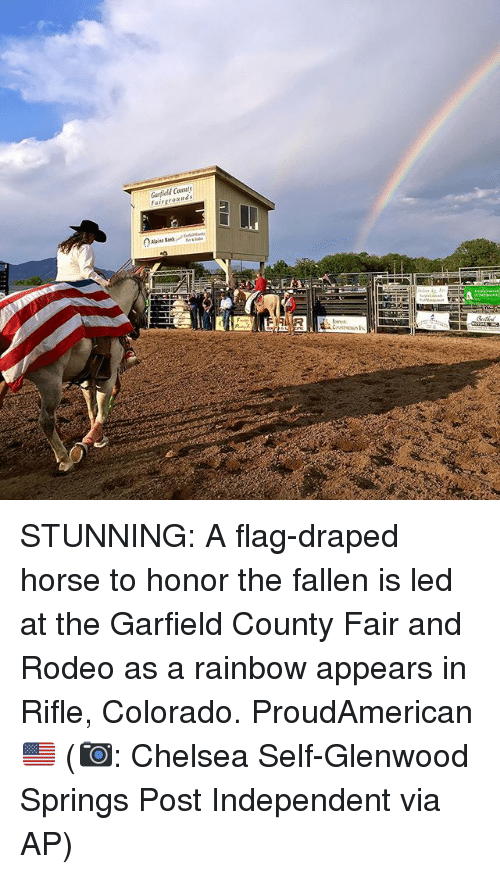 Chelsea, Memes, and Colorado: Garfield Comuty STUNNING: A flag-draped horse to honor the fallen is led at the Garfield County Fair and Rodeo as a rainbow appears in Rifle, Colorado. ProudAmerican 🇺🇸 (📷: Chelsea Self-Glenwood Springs Post Independent via AP)