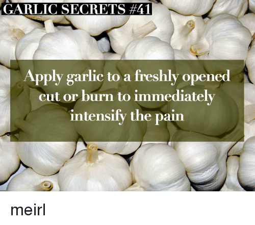 Intensify: GARLIC SECRETS #41  Apply garlic to a freshly opened  cut or burn to immediately  intensify the pain meirl