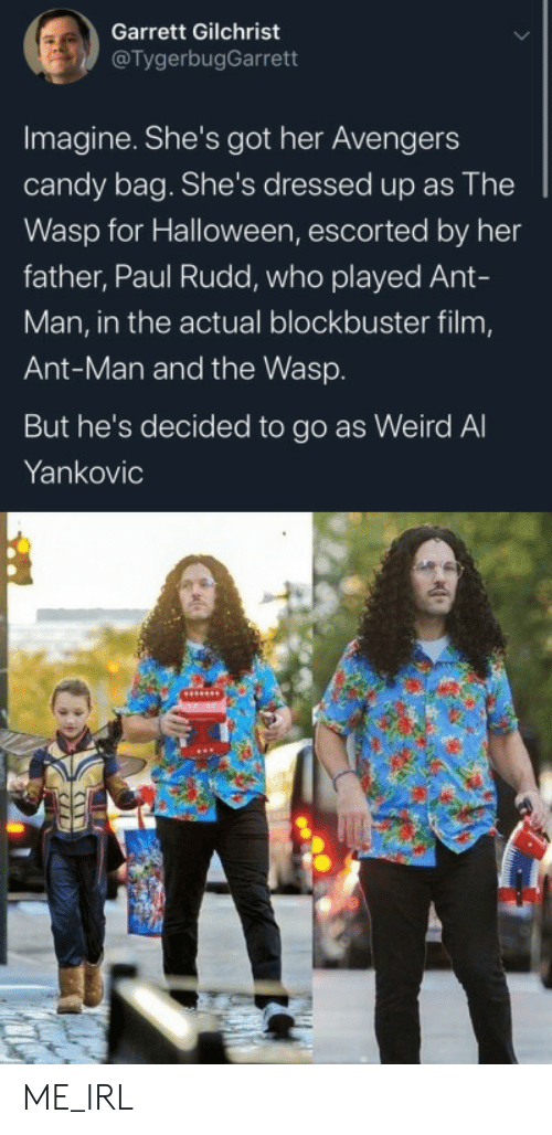 ant: Garrett Gilchrist  @TygerbugGarrett  Imagine. She's got her Avengers  candy bag. She's dressed up as The  Wasp for Halloween, escorted by her  father, Paul Rudd, who played Ant-  Man, in the actual blockbuster film,  Ant-Man and the Wasp.  But he's decided to go as Weird Al  Yankovic ME_IRL