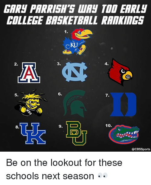 College basketball: GARS PARRISH'S WAY TOD EARLy  COLLEGE BASKETBALL RAAKINGS  3.  4.  6.  10.  9. 1 D  @CBSSports Be on the lookout for these schools next season 👀