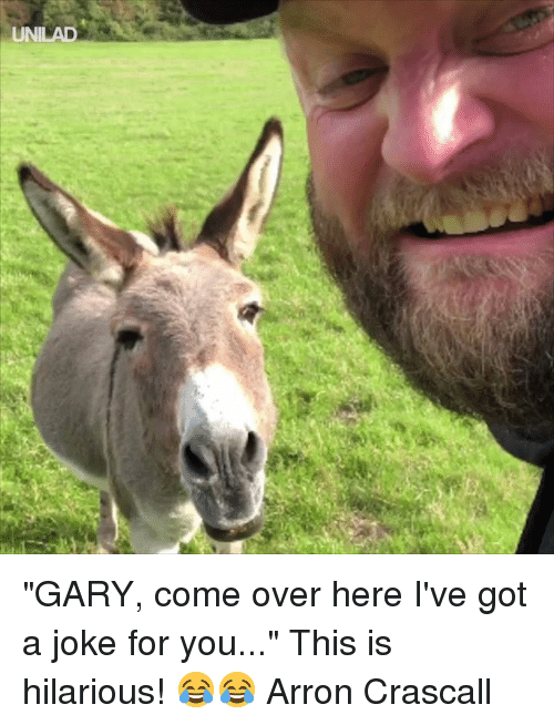 "Come Over, Dank, and Hilarious: ""GARY, come over here I've got a joke for you..."" This is hilarious! 😂😂  Arron Crascall"
