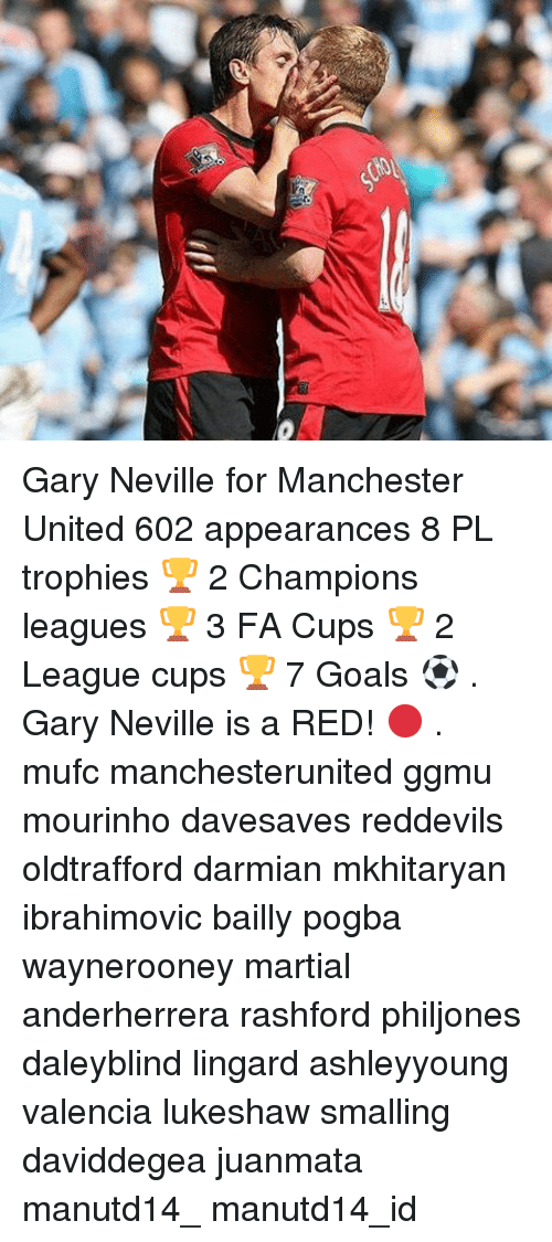 Goals, Memes, and Manchester United: Gary Neville for Manchester United 602 appearances 8 PL trophies 🏆 2 Champions leagues 🏆 3 FA Cups 🏆 2 League cups 🏆 7 Goals ⚽️ . Gary Neville is a RED! 🔴 . mufc manchesterunited ggmu mourinho davesaves reddevils oldtrafford darmian mkhitaryan ibrahimovic bailly pogba waynerooney martial anderherrera rashford philjones daleyblind lingard ashleyyoung valencia lukeshaw smalling daviddegea juanmata manutd14_ manutd14_id