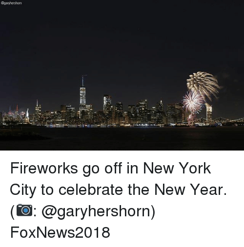 Memes, New Year's, and New York: @garyhershorn Fireworks go off in New York City to celebrate the New Year. (📷: @garyhershorn) FoxNews2018
