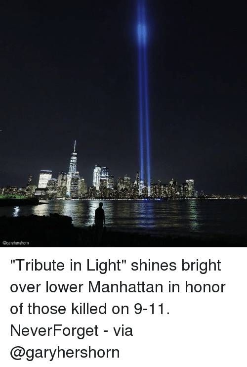 """lighted: @garyhershorn """"Tribute in Light"""" shines bright over lower Manhattan in honor of those killed on 9-11. NeverForget - via @garyhershorn"""