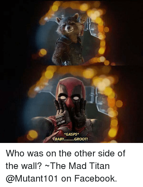 Other Side Of The Wall: GASPS  BABY  .........GROOT Who was on the other side of the wall? ~The Mad Titan  @Mutant101 on Facebook.