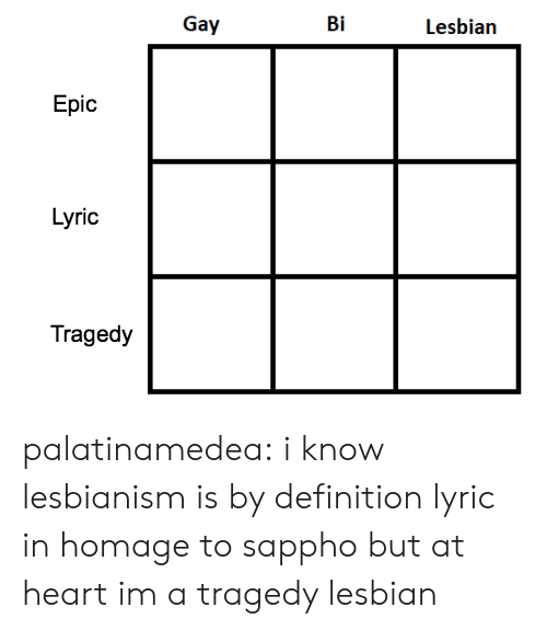 homage: Gay  Bi  Lesbian  Epic  Lyric  Tragedy palatinamedea:  i know lesbianism is by definition lyric in homage to sappho but at heart im a tragedy lesbian