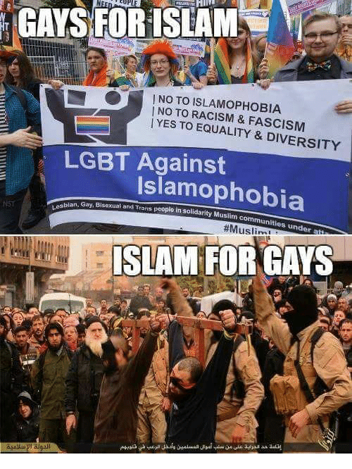 Community, Lgbt, and Memes: GAYSFOR ISLAM  cuPL  | NO TO ISLAM°PHOBIA  | NO TO RACISM & FASCISM  YES TO EQUALITY & DIVERSITY  LGBT Against  Islamophobia  sblan, Gay, Bisexual and Trans people in sol  in solidarity Muslim communities under  #Mus  ISLAM FOR GAYS  asell-pt algal!  ILlll