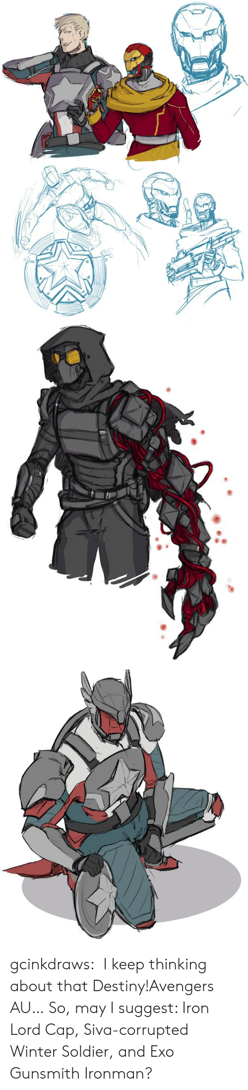 soldier: gcinkdraws:  I keep thinking about that Destiny!Avengers AU…So, may I suggest: Iron Lord Cap, Siva-corrupted Winter Soldier, and Exo Gunsmith Ironman?