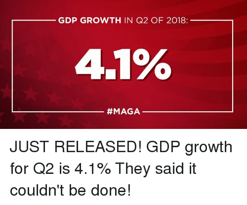 gdp: GDP GROWTH IN Q2 OF 2018:  4.1%  JUST RELEASED! GDP growth for Q2 is 4.1% They said it couldn't be done!