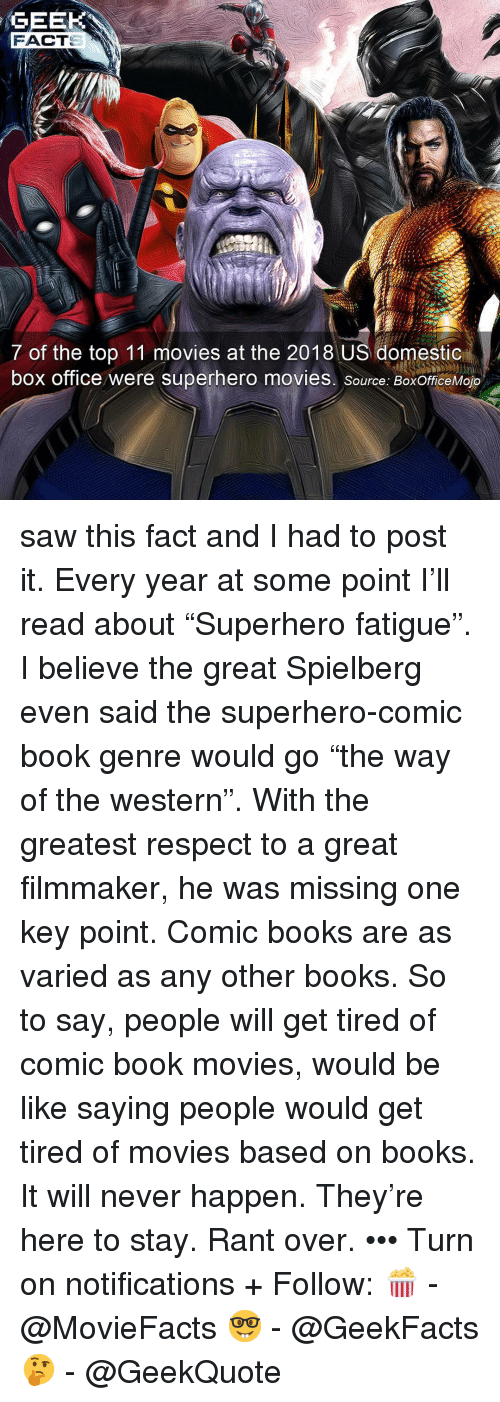 "Comic-book: GEEK  FACT  7 of the top 11 movies at the 2018 US domestic  box office were superhero movies. source: BoxOfficeMojo saw this fact and I had to post it. Every year at some point I'll read about ""Superhero fatigue"". I believe the great Spielberg even said the superhero-comic book genre would go ""the way of the western"". With the greatest respect to a great filmmaker, he was missing one key point. Comic books are as varied as any other books. So to say, people will get tired of comic book movies, would be like saying people would get tired of movies based on books. It will never happen. They're here to stay. Rant over. ••• Turn on notifications + Follow: 🍿 - @MovieFacts 🤓 - @GeekFacts 🤔 - @GeekQuote"