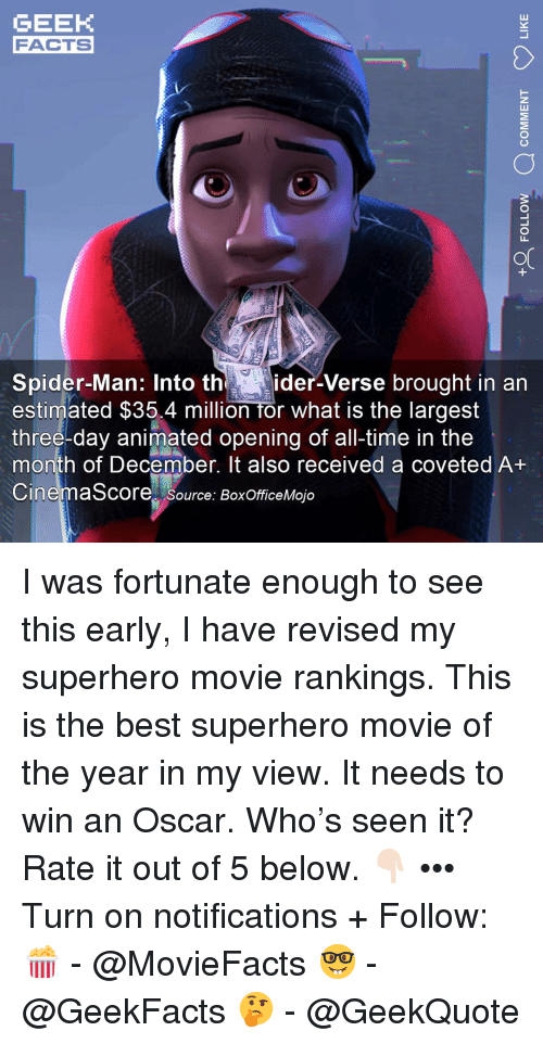 rankings: GEEK  FACTS  0  or  Spider-Man: Into thider-Verse brought in an  estimated $35.4 million for what is the largest  three-day animated opening of all-time in the  month of December. It also received a coveted A+  CinemaScore source: BoxOfficeMojo I was fortunate enough to see this early, I have revised my superhero movie rankings. This is the best superhero movie of the year in my view. It needs to win an Oscar. Who's seen it? Rate it out of 5 below. 👇🏻 ••• Turn on notifications + Follow: 🍿 - @MovieFacts 🤓 - @GeekFacts 🤔 - @GeekQuote