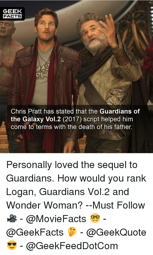 Lovedating: GEEK  FACTS  Chris Pratt has stated that the Guardians of  the Galaxy Vol.2 (2017) script helped him  come to terms with the death of his father. Personally loved the sequel to Guardians. How would you rank Logan, Guardians Vol.2 and Wonder Woman? --Must Follow 🎥 - @MovieFacts 🤓 - @GeekFacts 🤔 - @GeekQuote 😎 - @GeekFeedDotCom